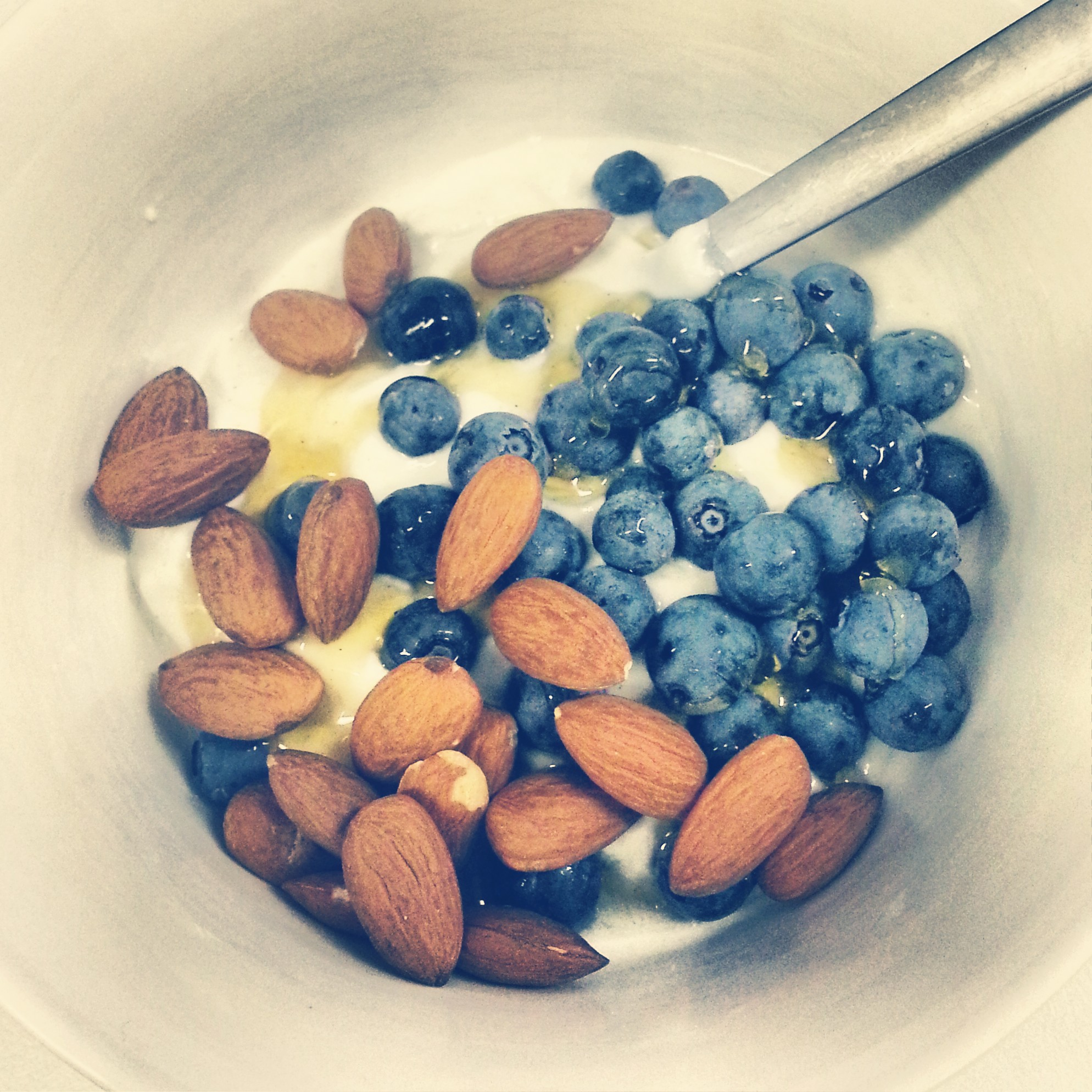 natural yoghurt, berries and almonds