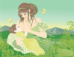 An idyllic image of breastfeeding
